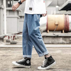 2019 New Fashion Mens Jeans Brand 2019 Hip Hop Autumn Ripped for Men Solid Cotton Full Length Mid Black Color Sale Washed Jeans