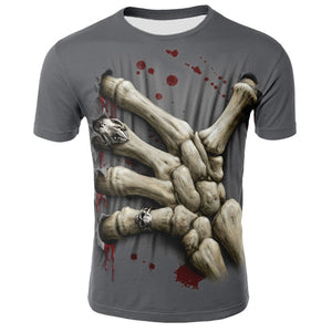 Hip Hop Male Tshirt Grim Reaper Finger Short Sleeve Casual O Neck Summer Tops Cool Skull Print T-shirt for Men