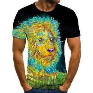New high quality T-shirt 2019 rare things short sleeve lion fashion design men's 3D animal print T-shirt summer casual T-shirt
