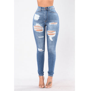 High Waist Skinny torn holes jeans 2019 New Plus Size Pencil Pants Hot sale jeans for Women Stretch Slim Calf Stretch blue Jeans