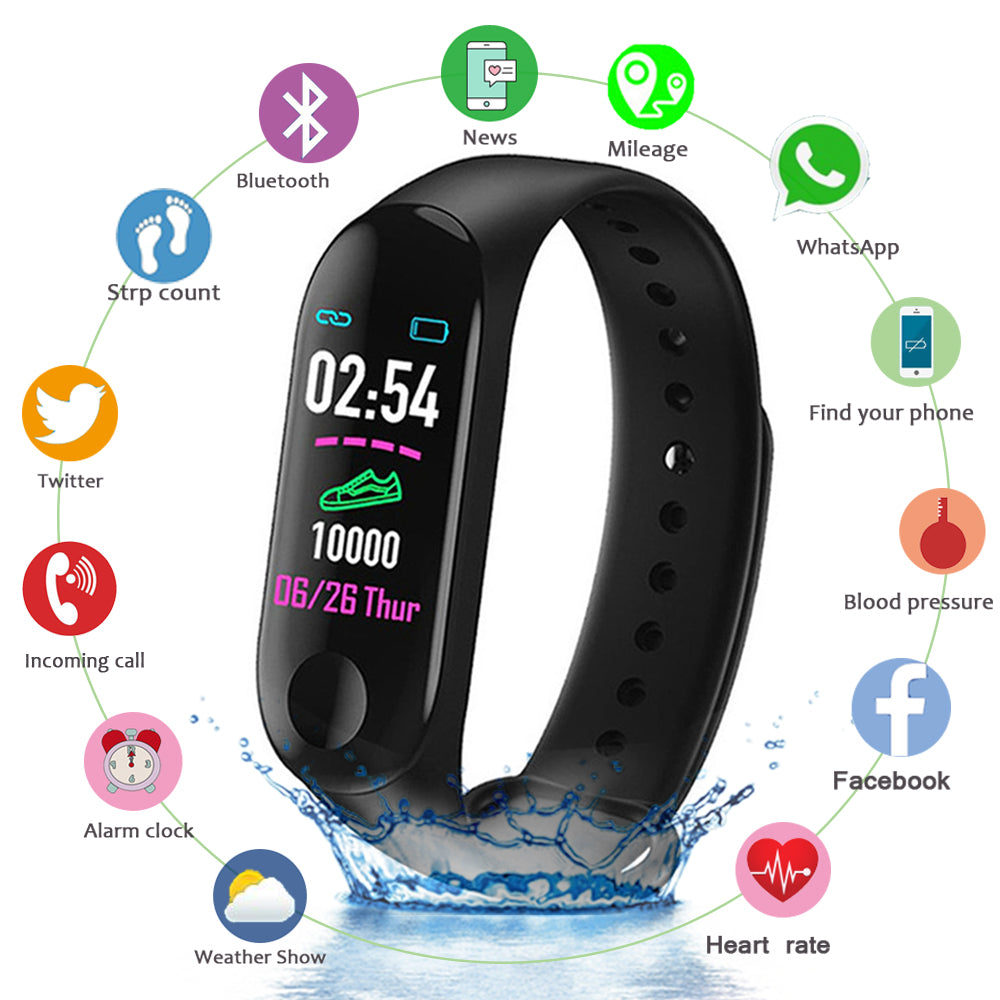 M3 Smart Wristband Smart Bracelet Blood Pressure Heart Rate Monitor Smart band Wristband Fitness tracker Watch For Android iOS