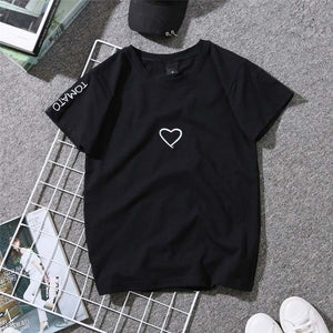 2019 Summer Couples Lovers T-Shirt for Women Casual White Tops Tshirt Women T Shirt Love Heart Embroidery Print T-Shirt Female