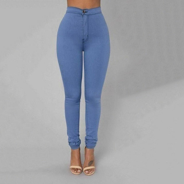 Pencil Jeans Women Stretch Casual Denim Skinny Pants  Ladies Fashionable High Waist Tight Trousers 5 Color Hot
