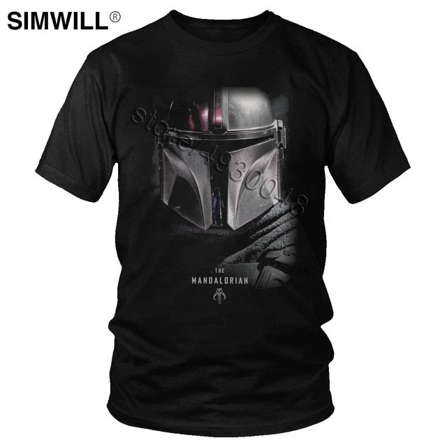 Cool Shiny Mysterious Mandalorian T-Shirt Classic Summer Cotton T Shirt Men Short Sleeve Crew Neck Star Wars Tee Movie Fans Gift