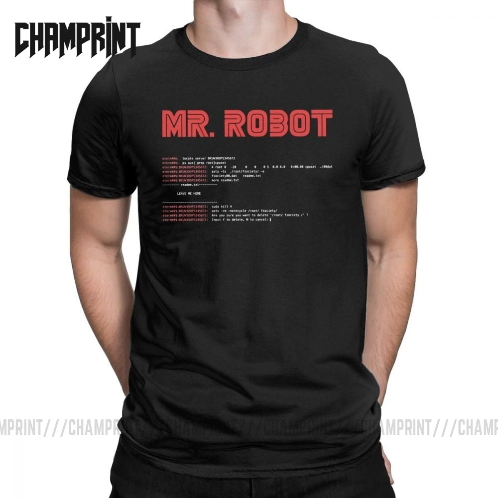Cool Mr Robot T Shirt Programming Programmer Tees Developer Code T-Shirts for Men Crew Neck Cotton Short Sleeve Big Size Clothes