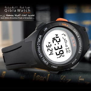 Muslim Azan Watch for Prayer with Qibla Compass Adhan Alarm Hijri Calendar Islamic Al Harameen Fajr Time Wristwatch in Arabic