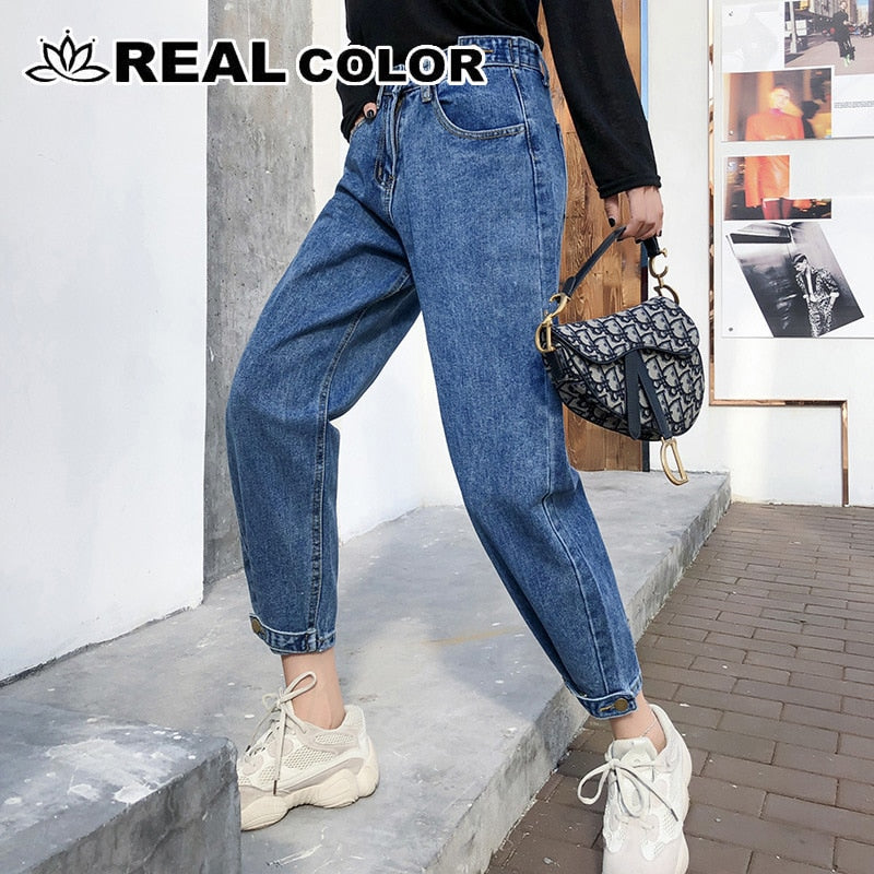 new Vintage ladies boyfriend jeans for women mom high waisted jeans blue casual pencil trousers korean streetwear denim pants -8