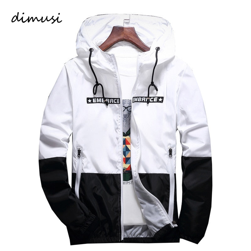 DIMUSI Spring Autumn Men's Jackets Hip Hop Jacket Windbreaker Hooded Casual Zipper Male Retro Vintage Streetwear Jackets,TA316