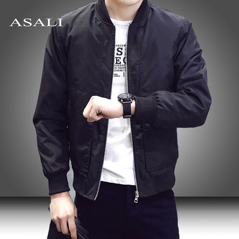 Slim Fit Solid Mens Bomber Jacket 2019 Spring Autumn Male Baseball Thin Jackets Brand Casual Coat Top Men's windbreaker Jacket