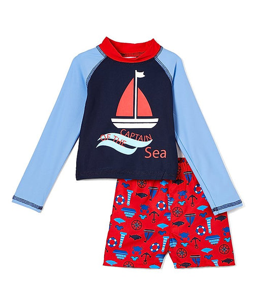 New Arrival! Boys Swim Short and Long Sleeve Rashguard Set - Captain of the Sea Red- 2-4T