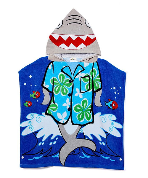 New Arrival! Cool Shark Hooded Pool Towel Poncho 2-6