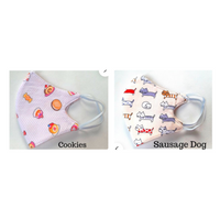 Kids Cotton Fabric Face Mask with Filter Pocket - Cookies and Sausage Dog (set of 2)