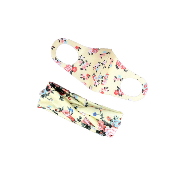 Adult Floral Mask and Headband Set B