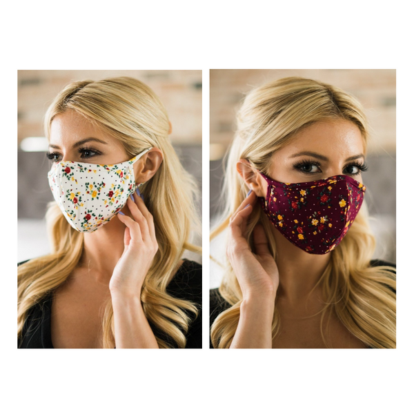 Women's Reusable Face Mask - Ivory and Burgundy