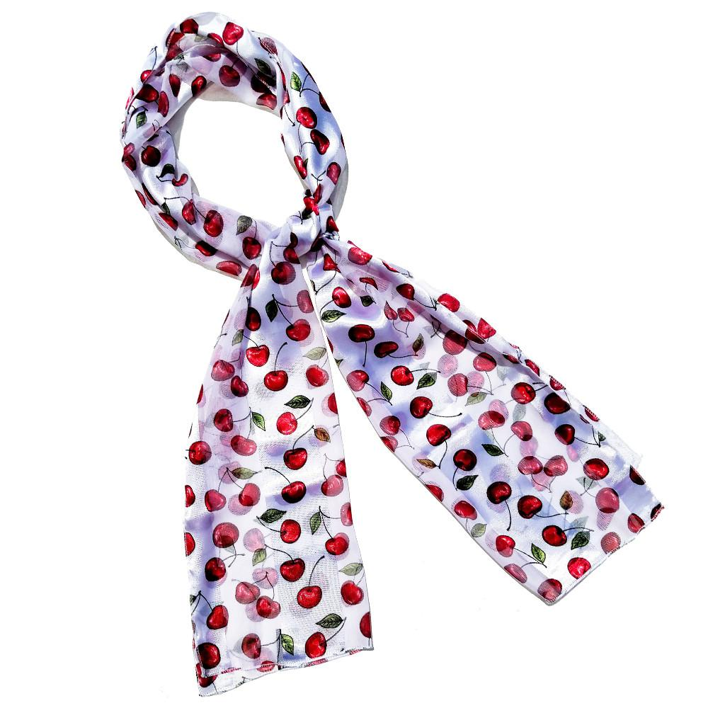 White Red Cherry Retro Chiffon Oblong Scarf - The Atomic Boutique  - 1