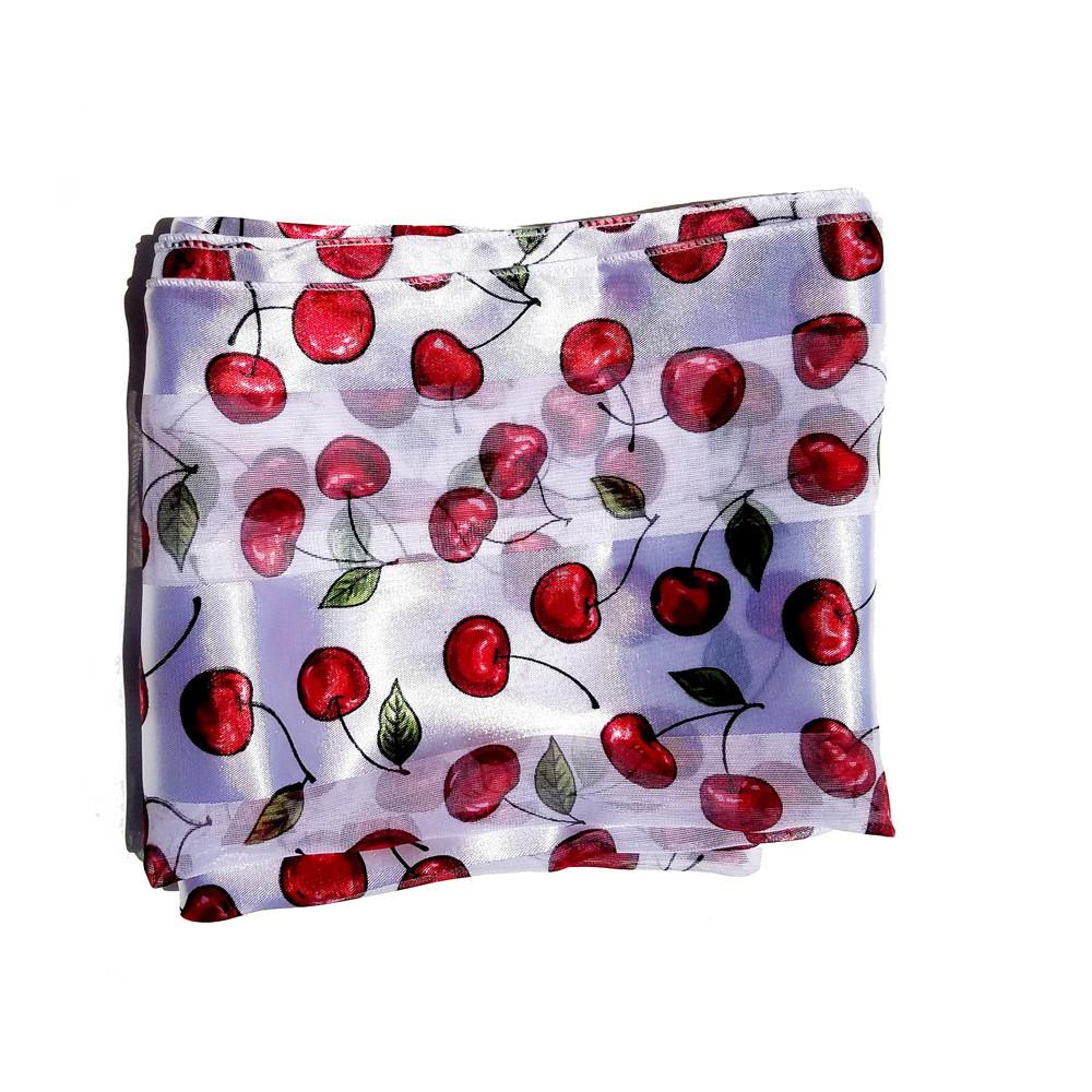 White Red Cherry Retro Chiffon Oblong Scarf - The Atomic Boutique
