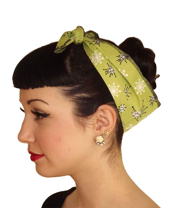 Atomic Starburst Green Head Wrap Scarf - The Atomic Boutique