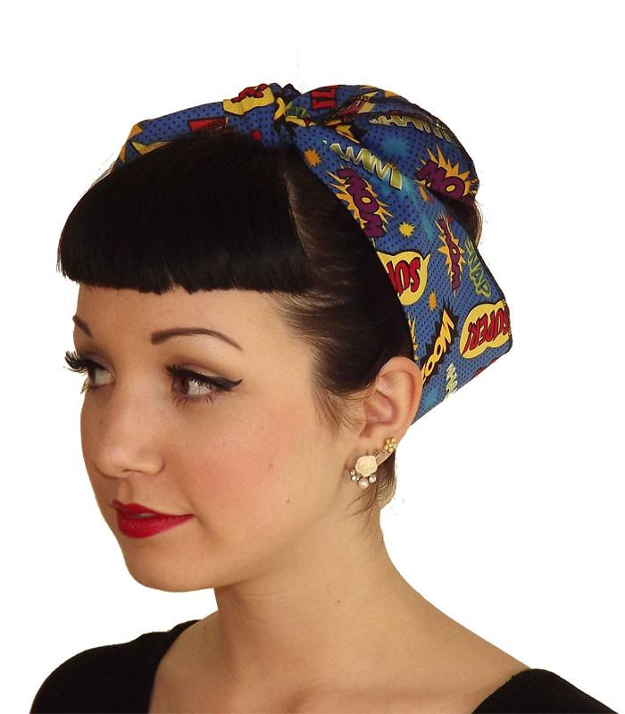 Blue Super Hero Head Wrap Scarf - The Atomic Boutique  - 1