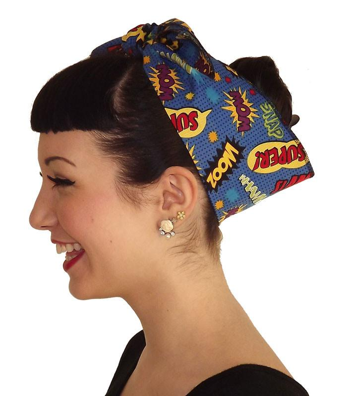 Blue Super Hero Head Wrap Scarf - The Atomic Boutique  - 2