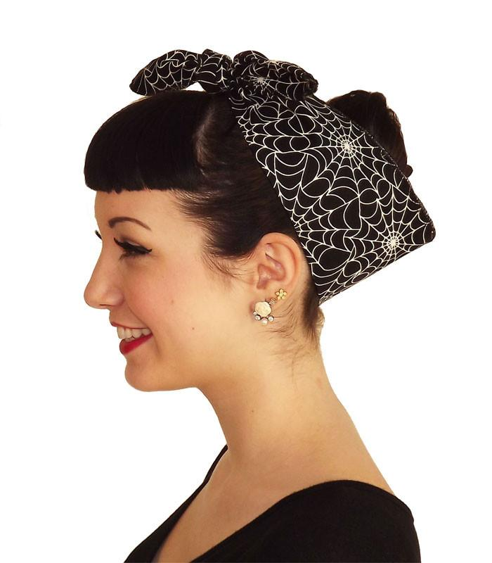 Black Spiderweb Head Wrap Scarf - The Atomic Boutique