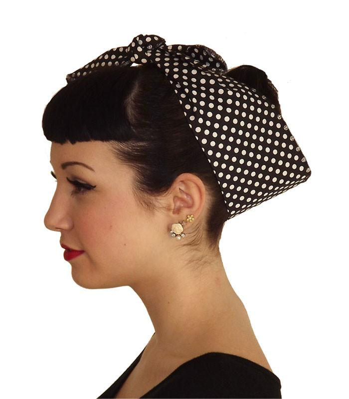 Black White Polka Dot Fabric Head Wrap Scarf - The Atomic Boutique