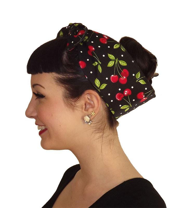 Red Cherry Polka Dot Head Wrap Scarf - The Atomic Boutique