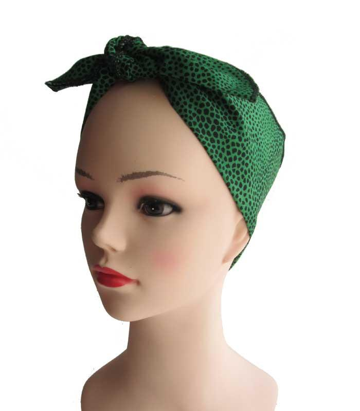Green Leopard Fabric Head Wrap Scarf - The Atomic Boutique  - 1