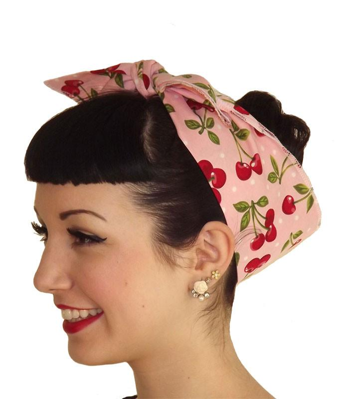 Pink Cherry Polka Dot Head Wrap Scarf - The Atomic Boutique