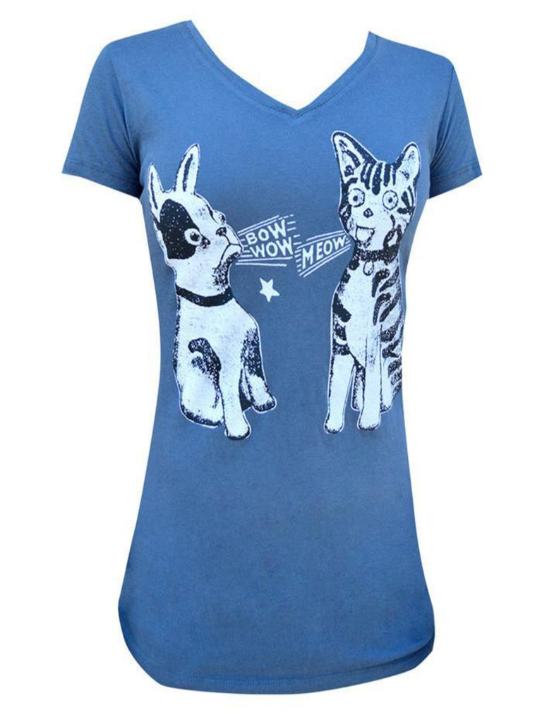 Bow Wow Meow Womens VNeck Tee - The Atomic Boutique