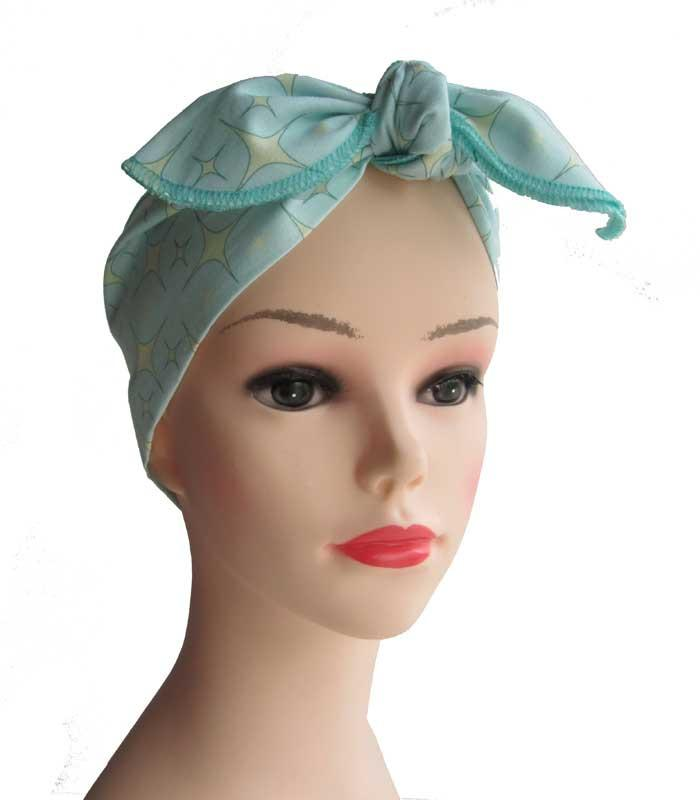 Atomic Starlite Mint Fabric Head Wrap Scarf - The Atomic Boutique  - 2