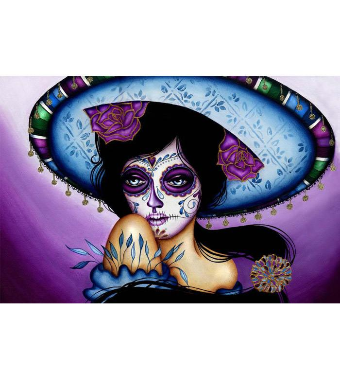 Blue Sombrero Fine Art Print by Artist Cat Ashworth - The Atomic Boutique