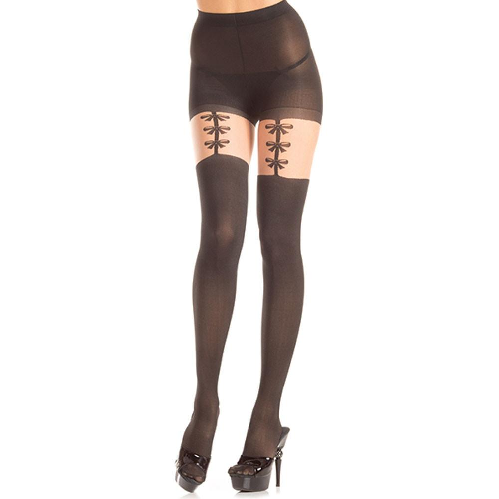 Opaque Faux Bow Garter Strap Pantyhose - The Atomic Boutique