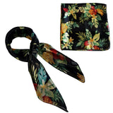 Black Tropical Fruit Retro Chiffon Scarf - The Atomic Boutique  - 2