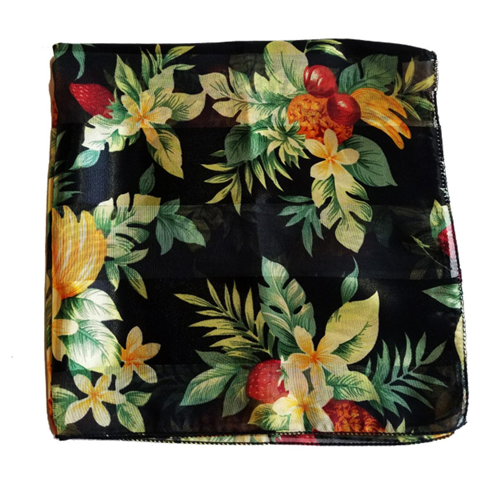 Black Tropical Fruit Retro Chiffon Scarf - The Atomic Boutique  - 1