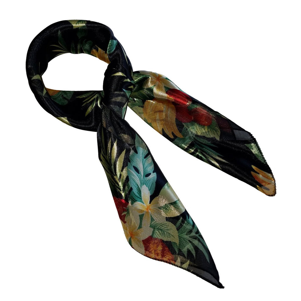Black Tropical Fruit Retro Chiffon Scarf - The Atomic Boutique  - 3