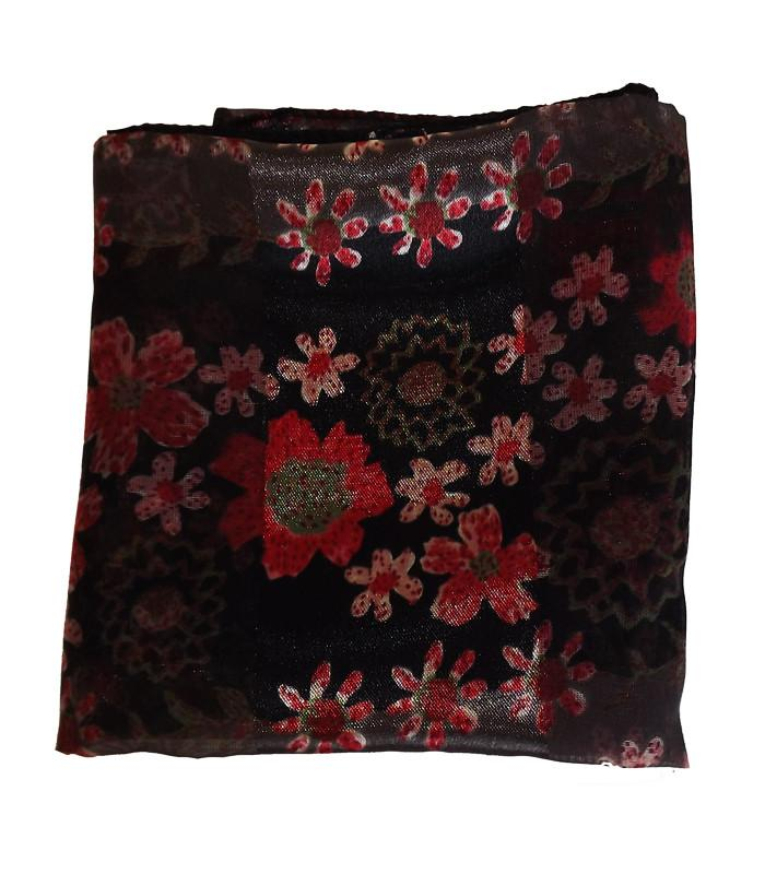 Black Red Floral Retro Chiffon Scarf - The Atomic Boutique