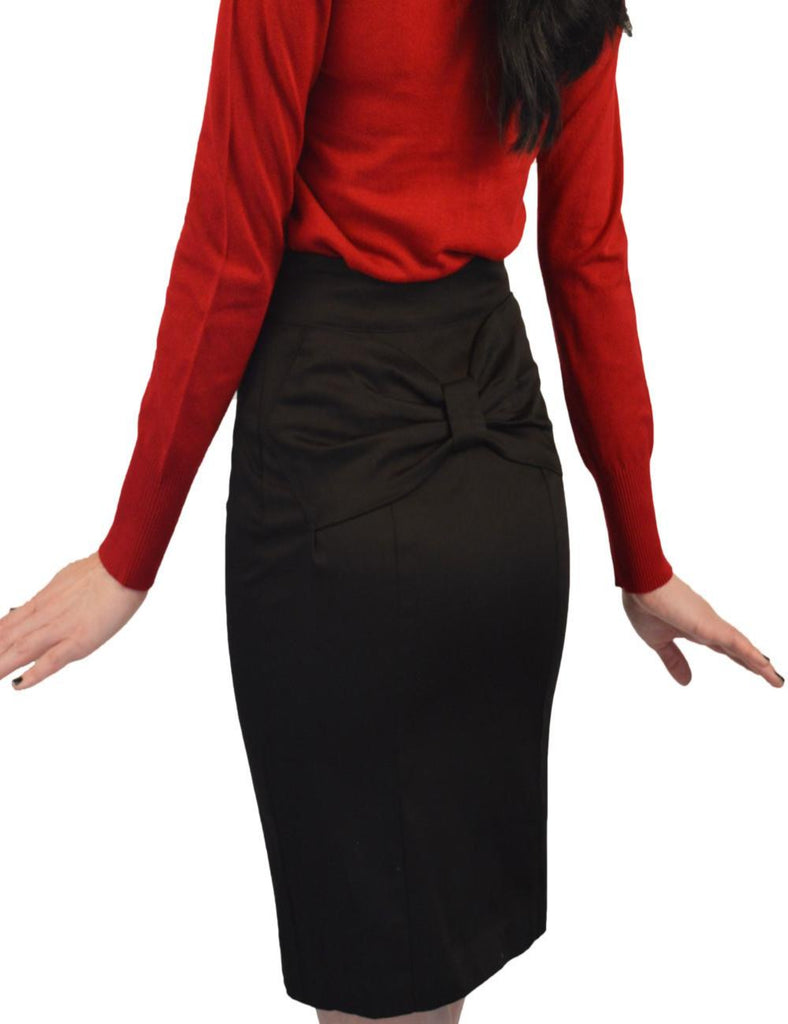 Black Back Bow Retro Pencil Skirt - The Atomic Boutique