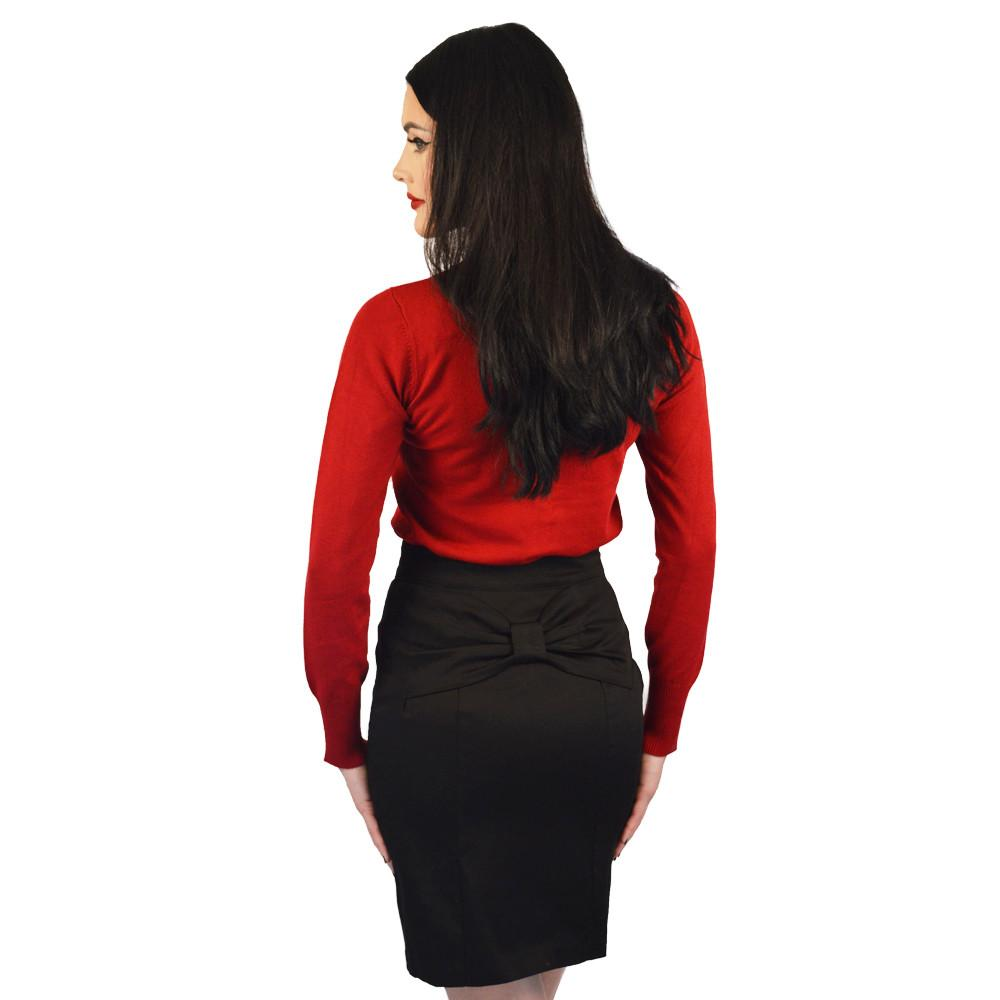 Atomic Apparel Black Bow Back Retro Pencil Skirt - The Atomic Boutique