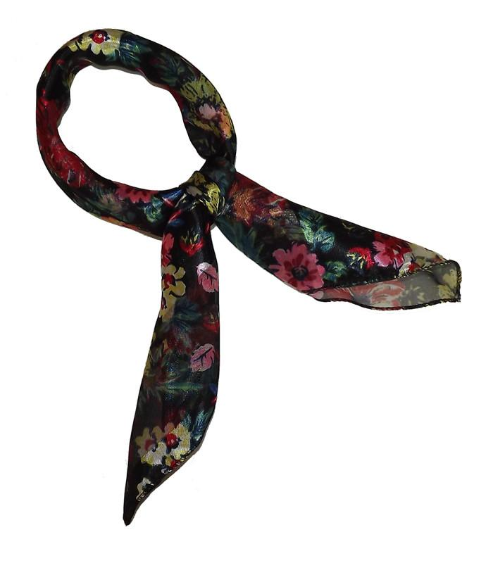 Black Floral Retro Chiffon Scarf - The Atomic Boutique  - 1