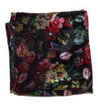 Black Floral Retro Chiffon Scarf - The Atomic Boutique  - 3