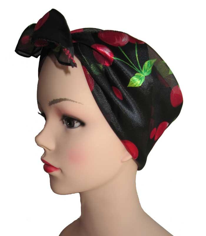 Black Red Cherry Retro Chiffon Scarf - The Atomic Boutique  - 2