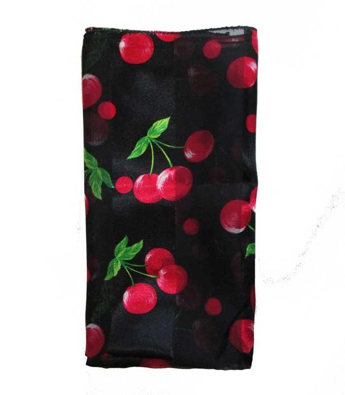 Black Red Cherry Retro Chiffon Scarf - The Atomic Boutique
