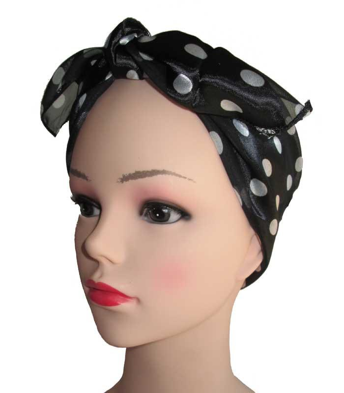 Black Polka Dot Retro Chiffon Scarf - The Atomic Boutique  - 2