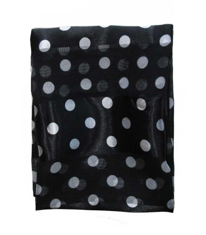 Black Polka Dot Retro Chiffon Scarf - The Atomic Boutique