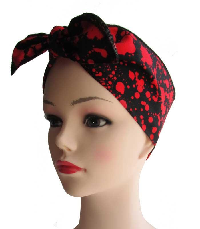 Blood Splatter Black Fabric Head Wrap Scarf - The Atomic Boutique  - 1
