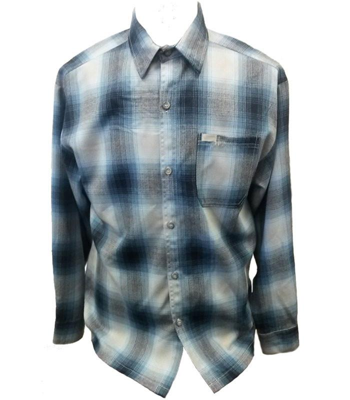 Blue Long Sleeve Flannel Shirt - The Atomic Boutique  - 1