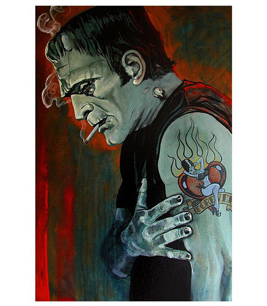 Lowbrow Broken Hearted Art Print by Artist Mike Bell - The Atomic Boutique