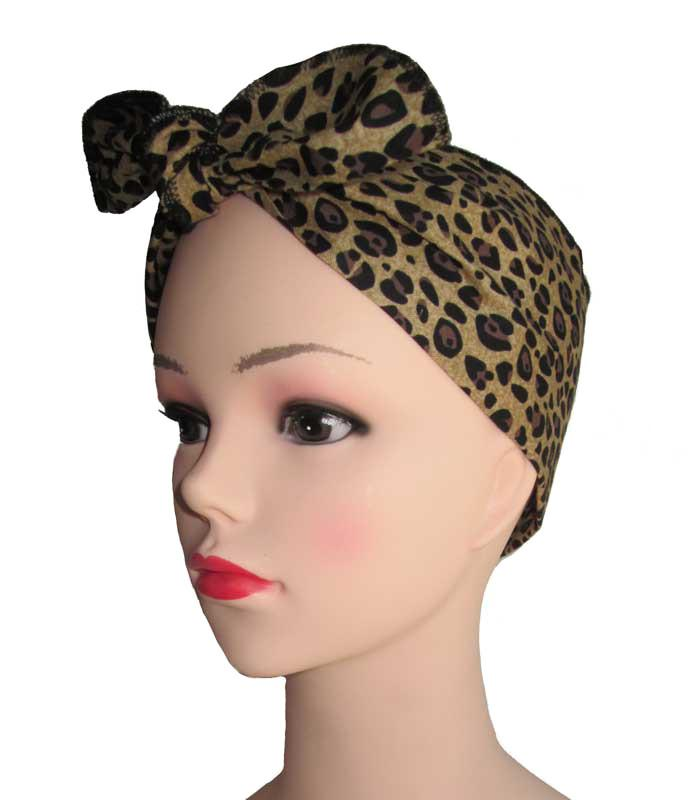 Brown Leopard Fabric Head Wrap Scarf - The Atomic Boutique