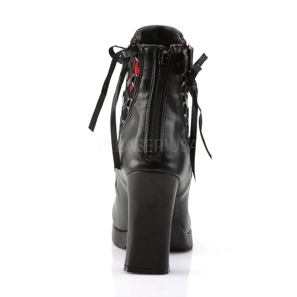 Demonia Crypto Black and Red Corset Ankle Boots