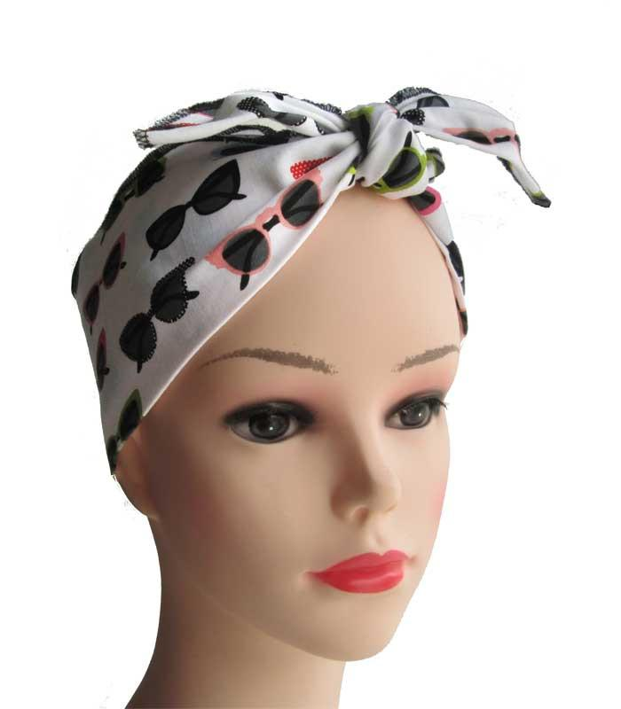 Cat Eye Sunglasses Fabric Head Wrap Scarf - The Atomic Boutique